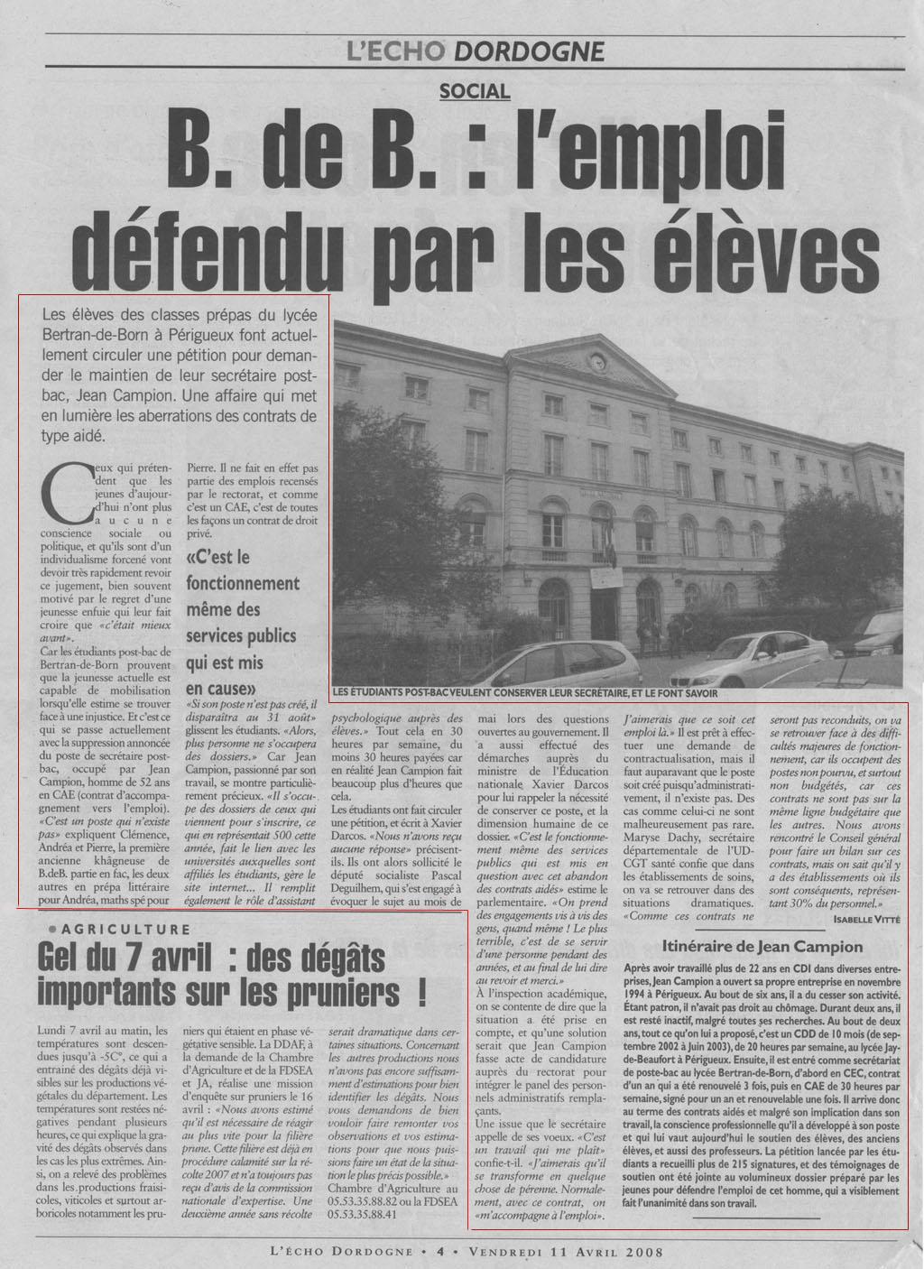 L'Echo de la dordogne 11 avril 2008