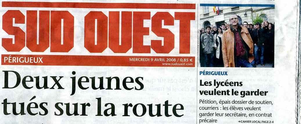 Sud-ouest Périgueux - Couverture9 avril 2008