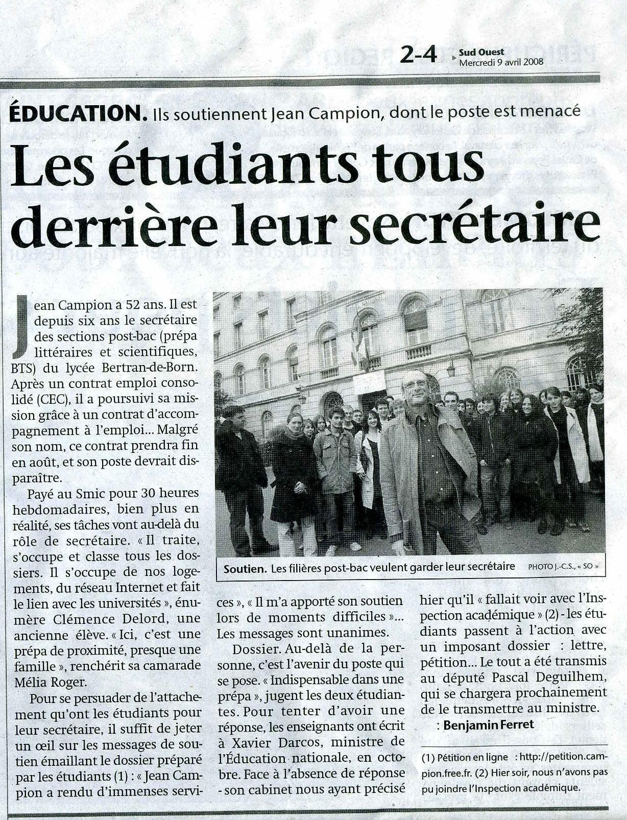 Sud-ouest Périgueux - article 9 avril 2008